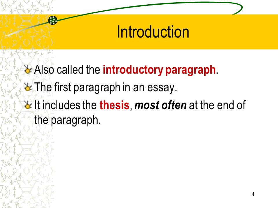 the introduction paragraph of an essay Introduction: introductory paragraph see, first, writing introductory paragraphs for different ways of getting your reader involved in your essay the introductory paragraph should also include the thesis statement, a kind of mini-outline for the paper: it tells the reader what the essay is about.