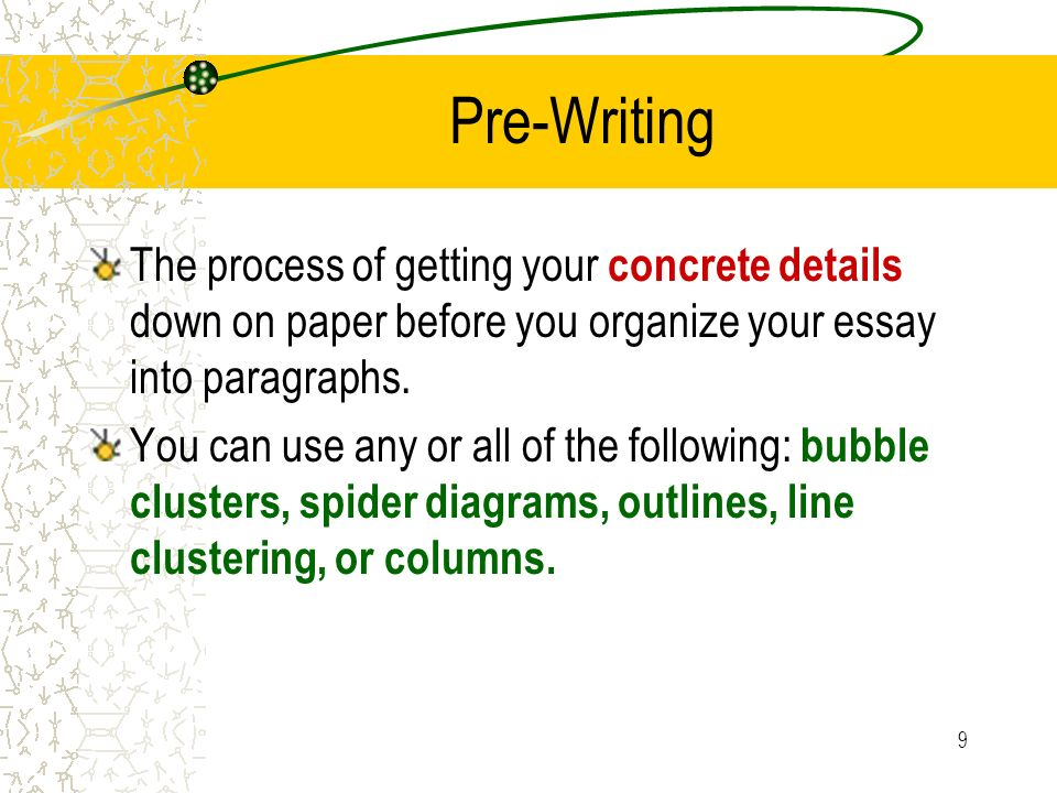Pre-Writing The process of getting your concrete details down on paper before you organize your essay into paragraphs.