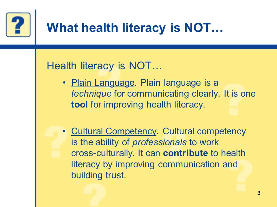 how health literacy affects a persons Literacy is the ability to read and write health literacy is the degree to which people can get, process, and understand basic health information and services needed to make health.