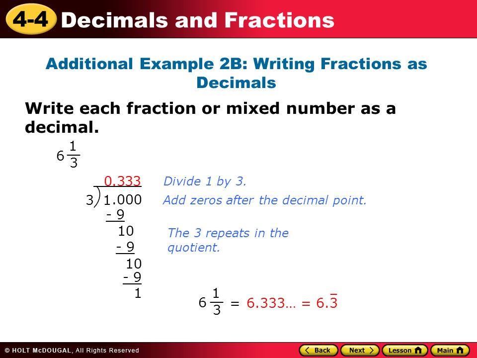 Learn to convert between decimals and fractions. - ppt video ...