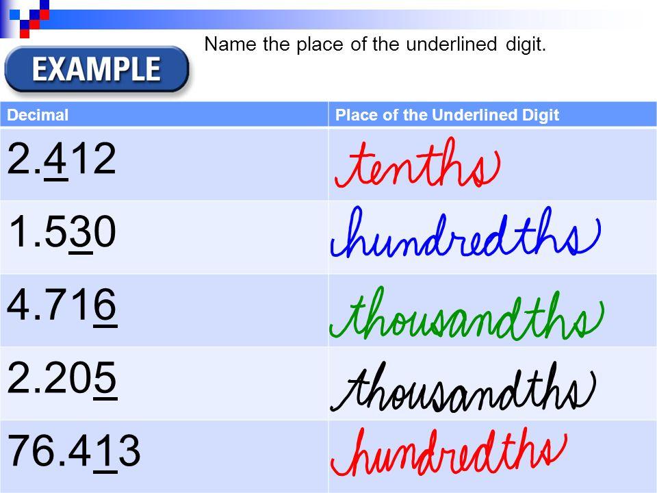 math worksheet : decimal place value honors math  grade ppt video online download : Value Of Underlined Digit