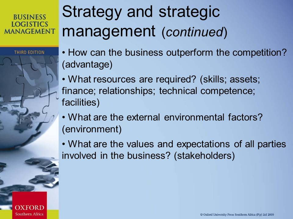 strategy and the competitive environment Strategic planning is an organization's process of defining its strategy, or direction, and making decisions on allocating its resources to pursue this strategy it may also extend to control mechanisms for guiding the implementation of the strategy the essence of formulating competitive strategy is relating a company to its environment.