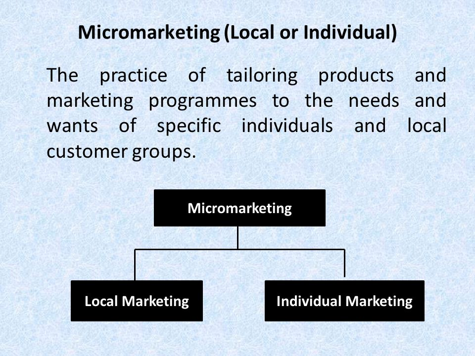 Micromarketing (Local or Individual)