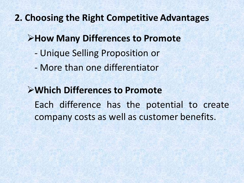 2. Choosing the Right Competitive Advantages