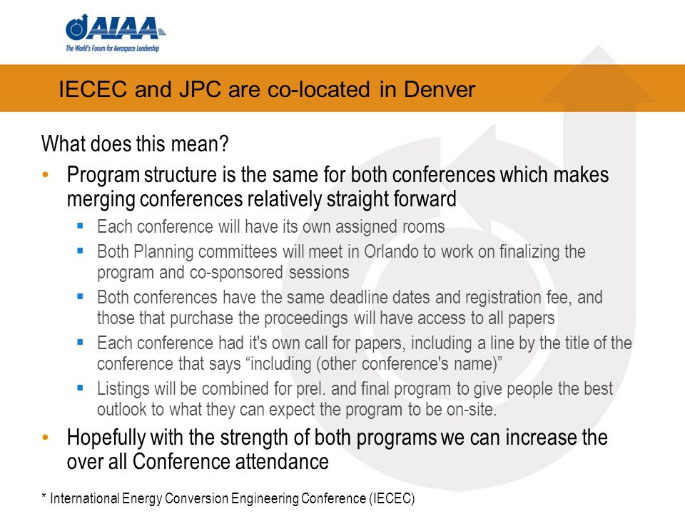 IECEC and JPC are co-located in Denver