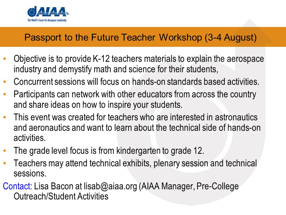 Passport to the Future Teacher Workshop (3-4 August)