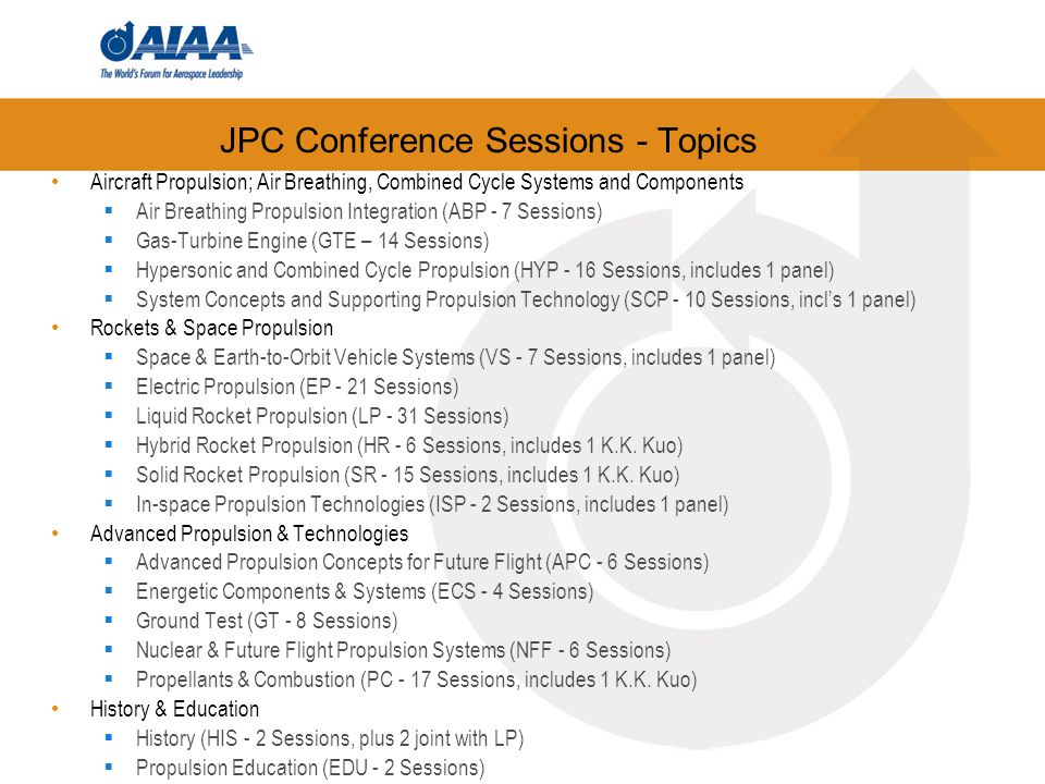 JPC Conference Sessions - Topics