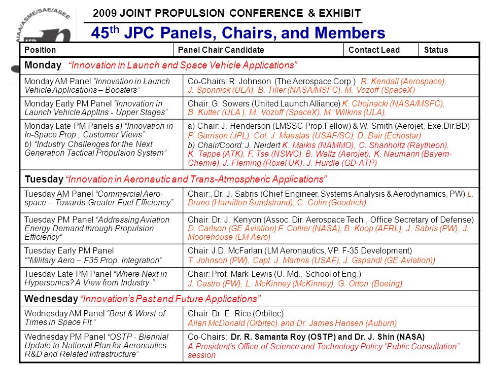 45th JPC Panels, Chairs, and Members