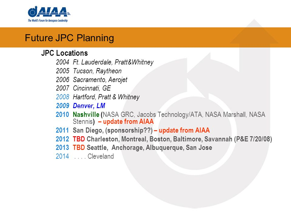 Future JPC Planning JPC Locations 2004 Ft. Lauderdale, Pratt&Whitney