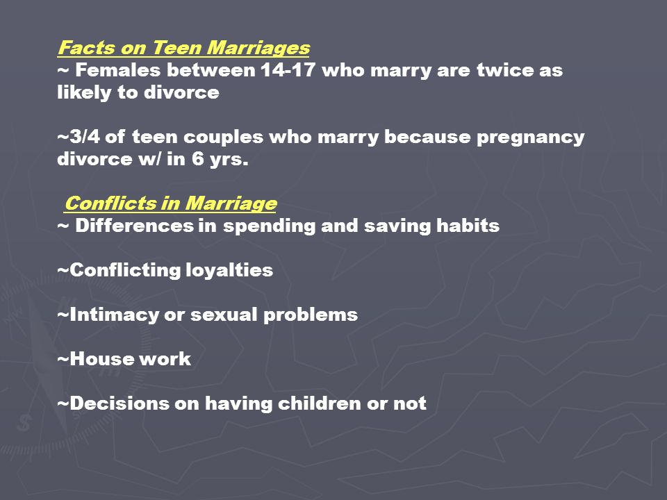 Problems in teen marriages