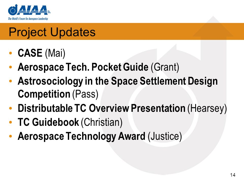 Project Updates CASE (Mai) Aerospace Tech. Pocket Guide (Grant)