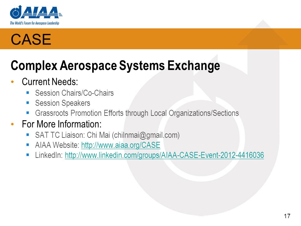 CASE Complex Aerospace Systems Exchange Current Needs: