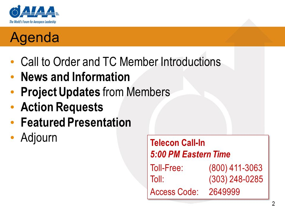 Agenda Call to Order and TC Member Introductions News and Information