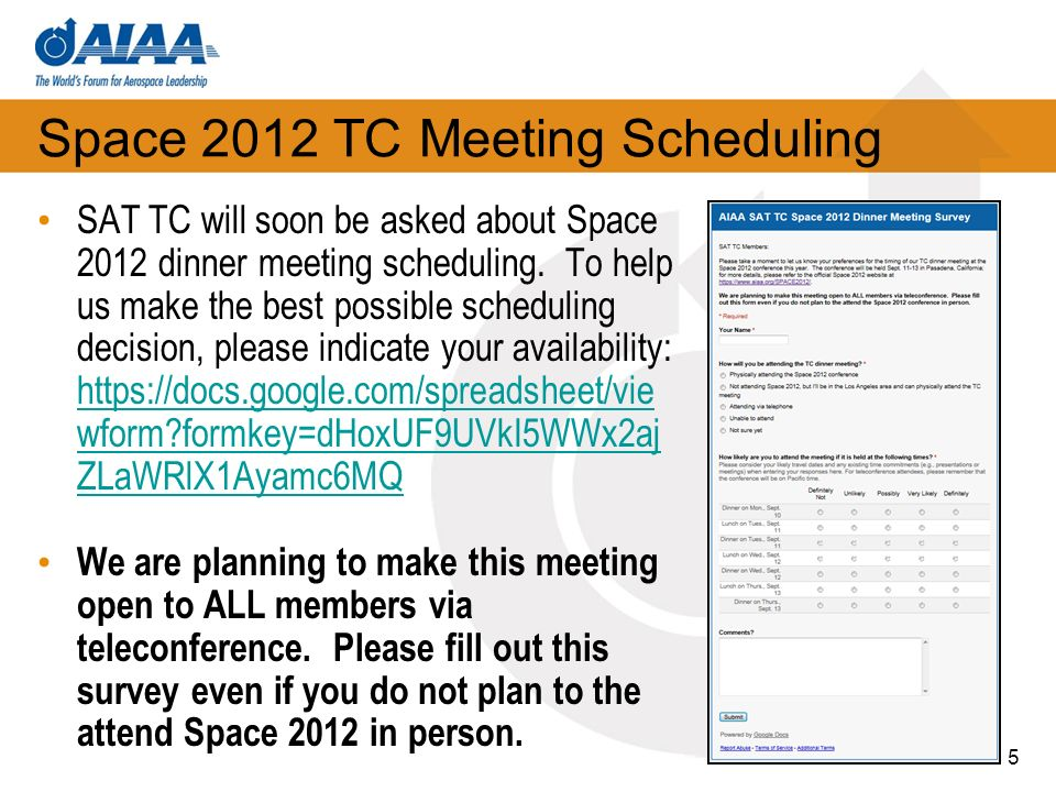 Space 2012 TC Meeting Scheduling