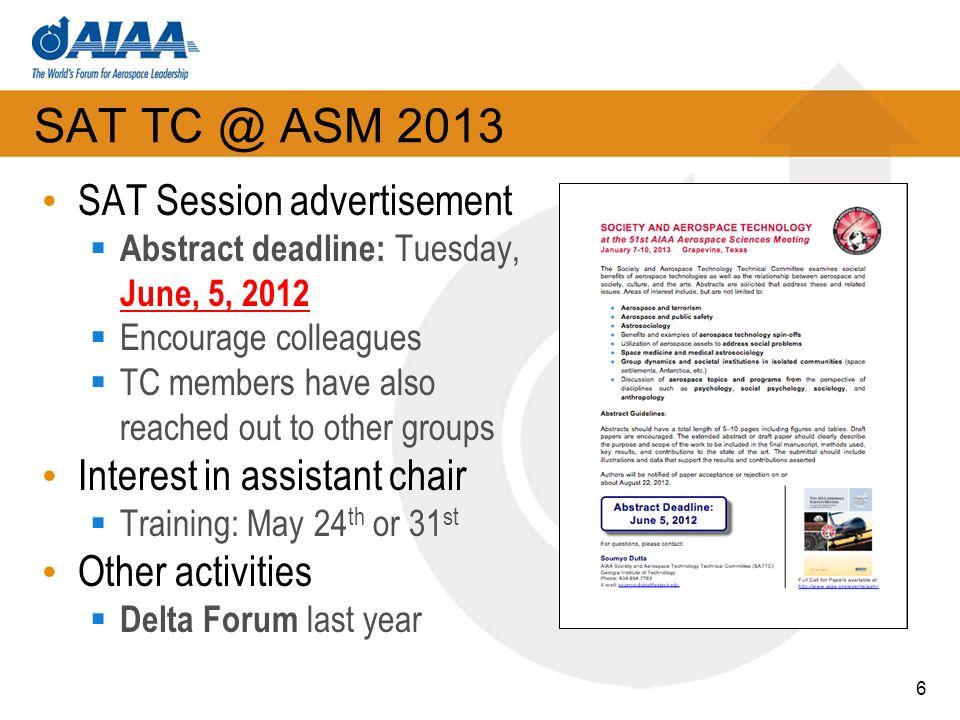 SAT TC @ ASM 2013 SAT Session advertisement