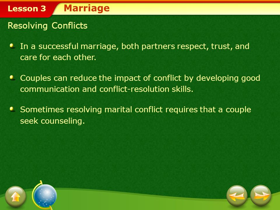 Marriage Resolving Conflicts