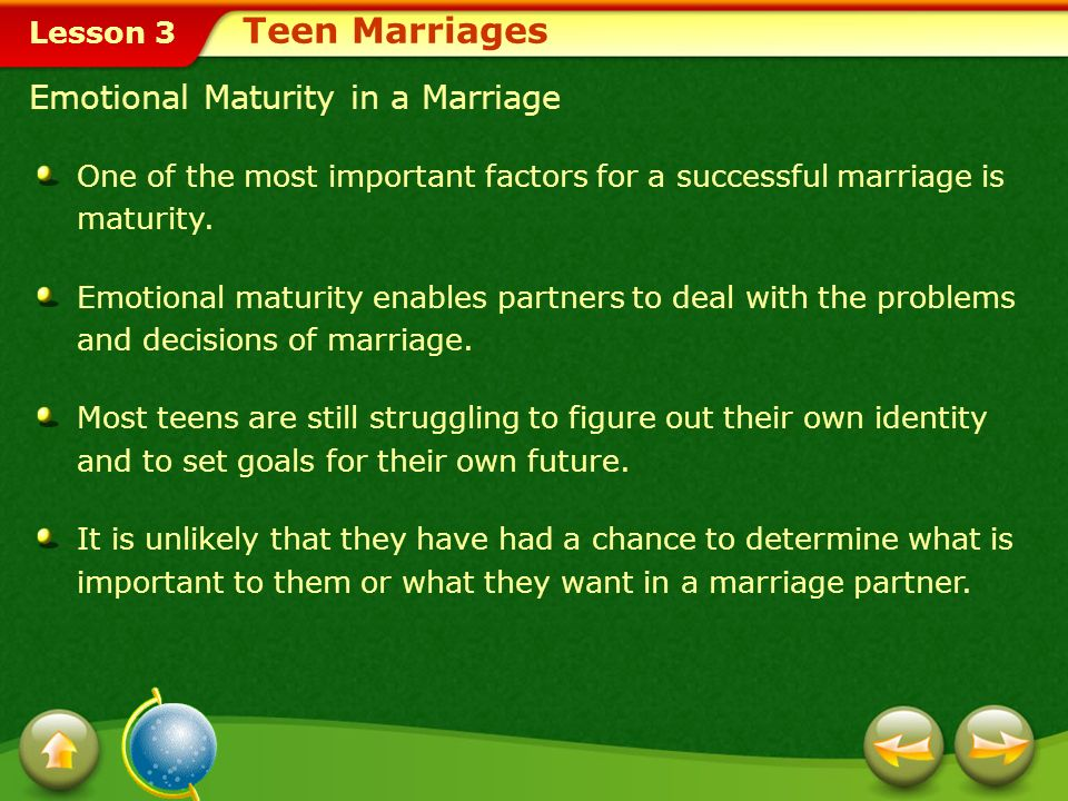 Teen Marriages Emotional Maturity in a Marriage