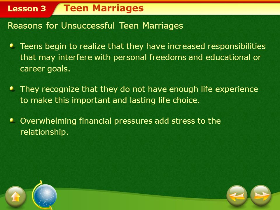 Teen Marriages Reasons for Unsuccessful Teen Marriages