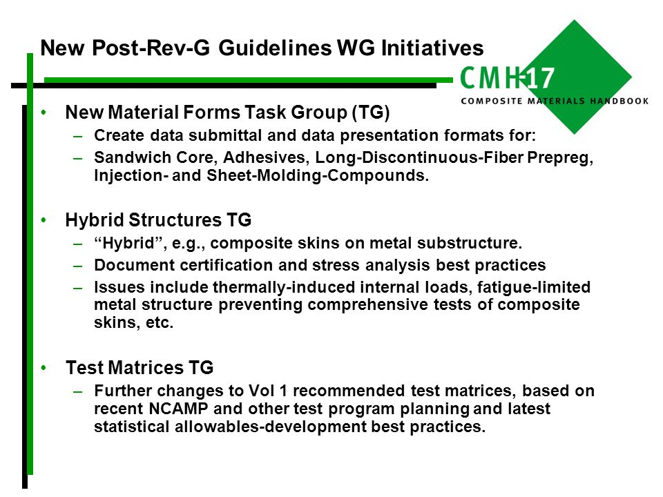 New Post-Rev-G Guidelines WG Initiatives