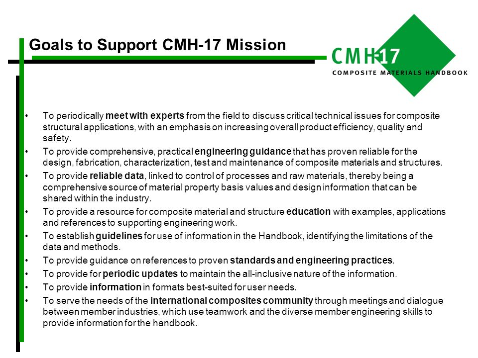Goals to Support CMH-17 Mission