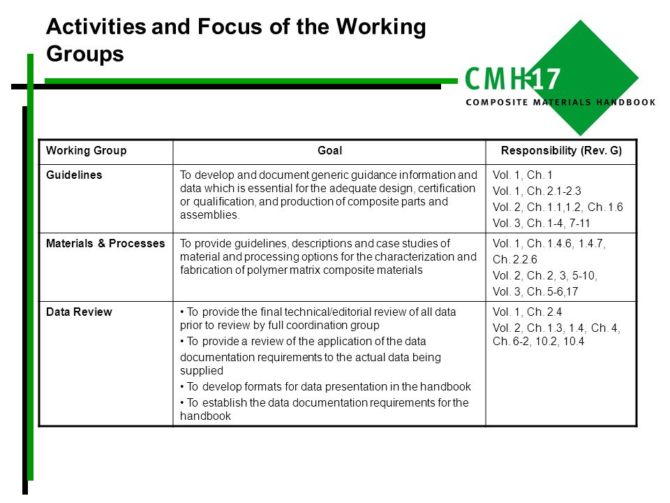 Activities and Focus of the Working Groups