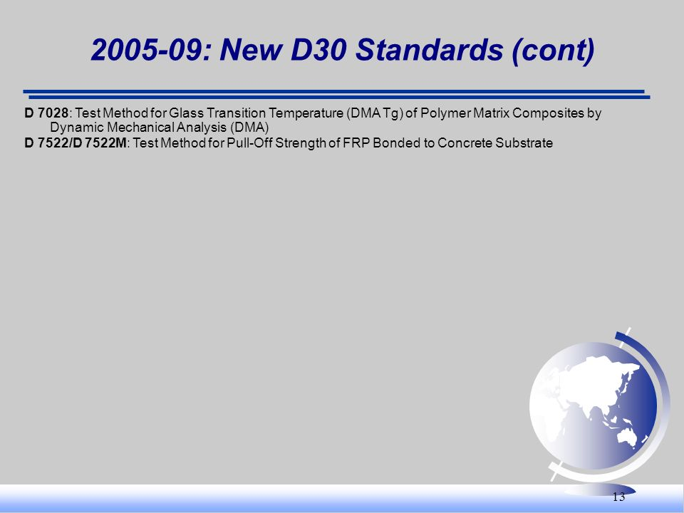 : New D30 Standards (cont)