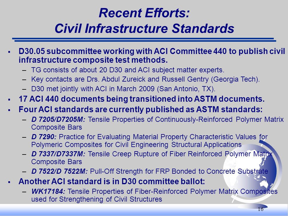 Recent Efforts: Civil Infrastructure Standards