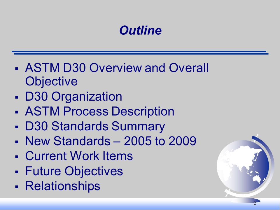 Outline ASTM D30 Overview and Overall Objective. D30 Organization. ASTM Process Description. D30 Standards Summary.