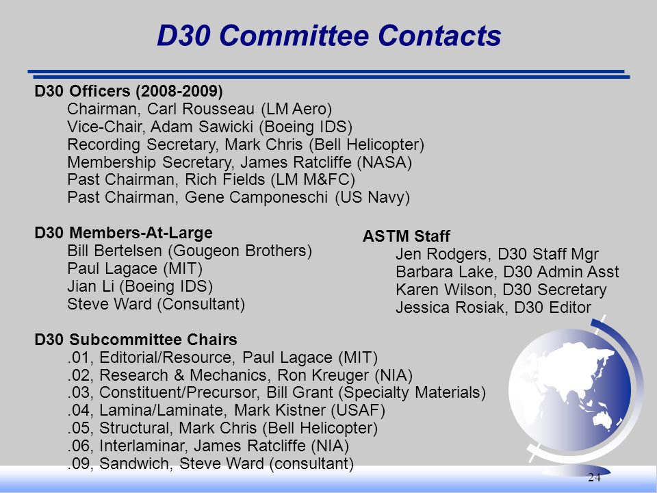 D30 Committee Contacts D30 Officers (2008-2009)