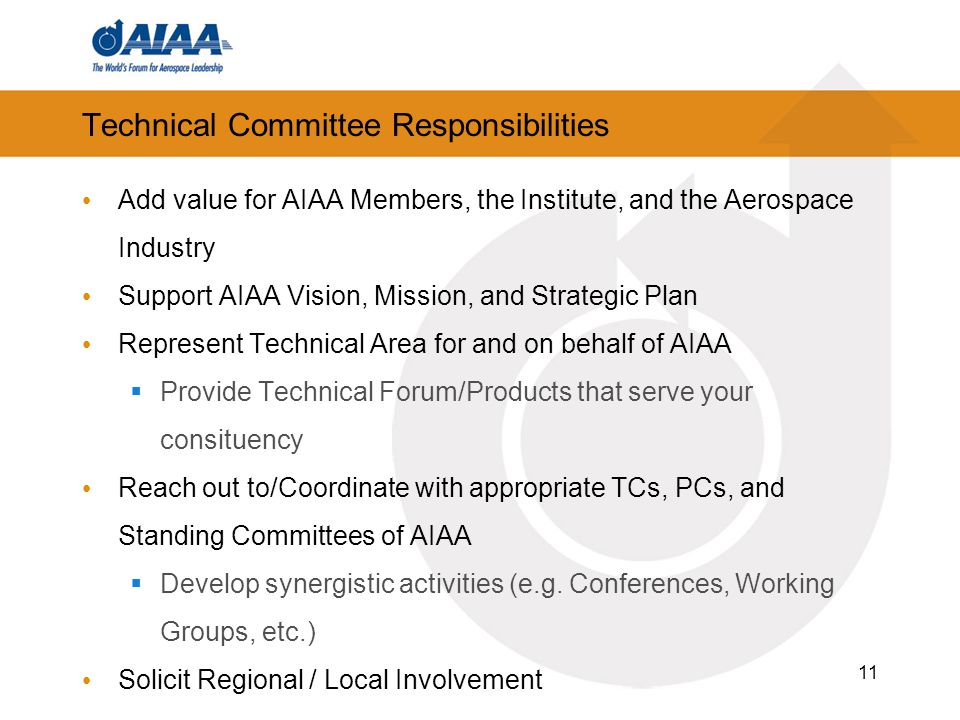 Technical Committee Responsibilities