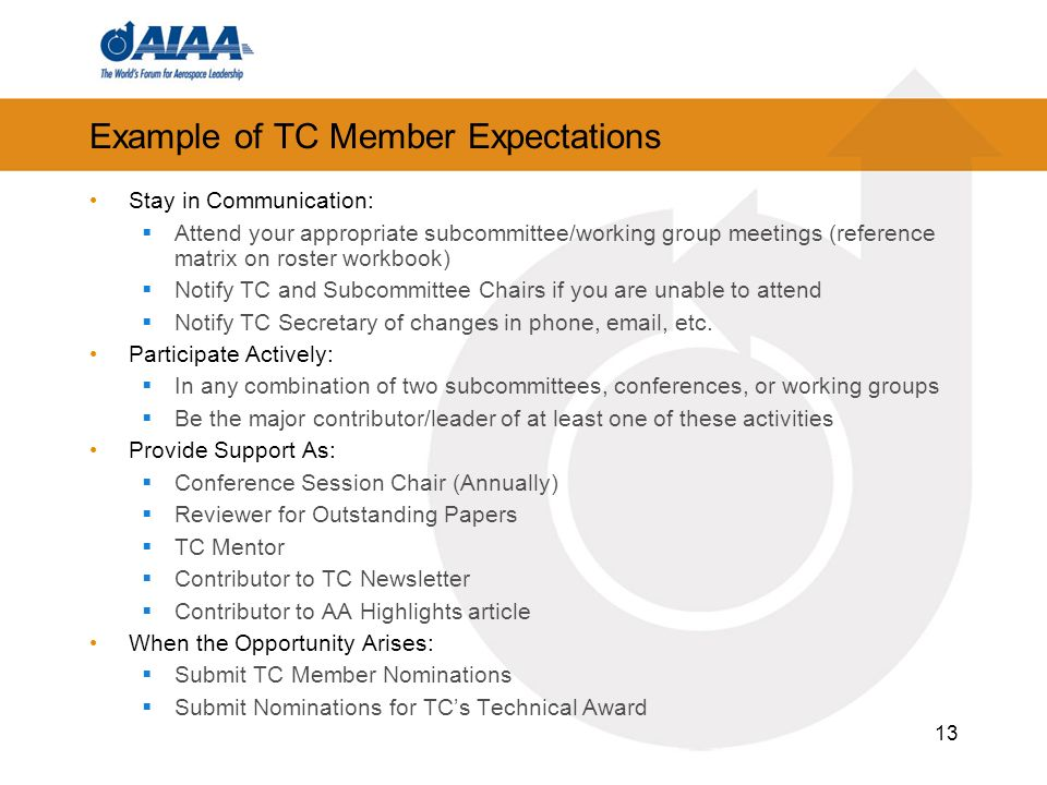 Example of TC Member Expectations