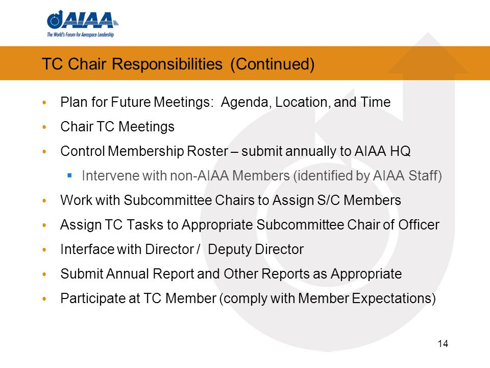 TC Chair Responsibilities (Continued)