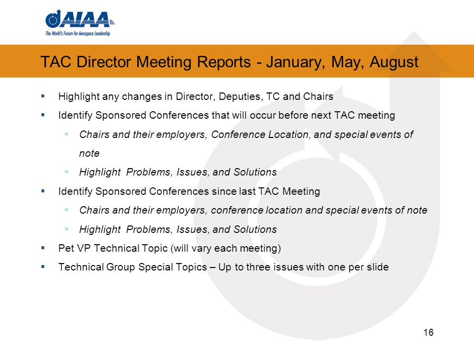 TAC Director Meeting Reports - January, May, August