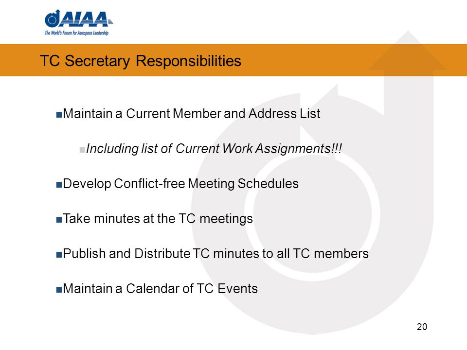 TC Secretary Responsibilities