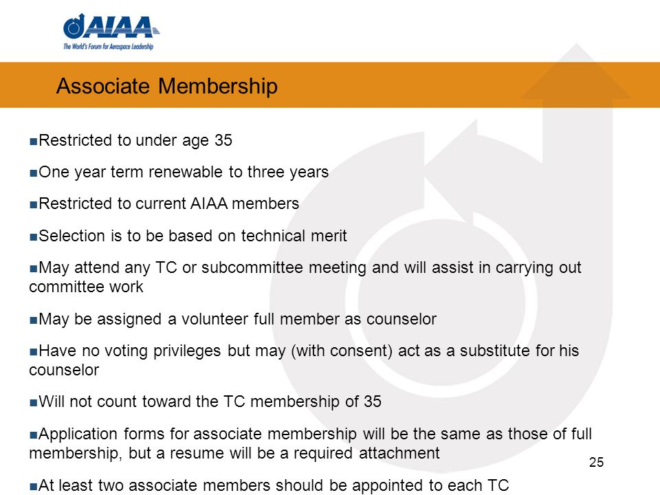 Associate Membership Restricted to under age 35