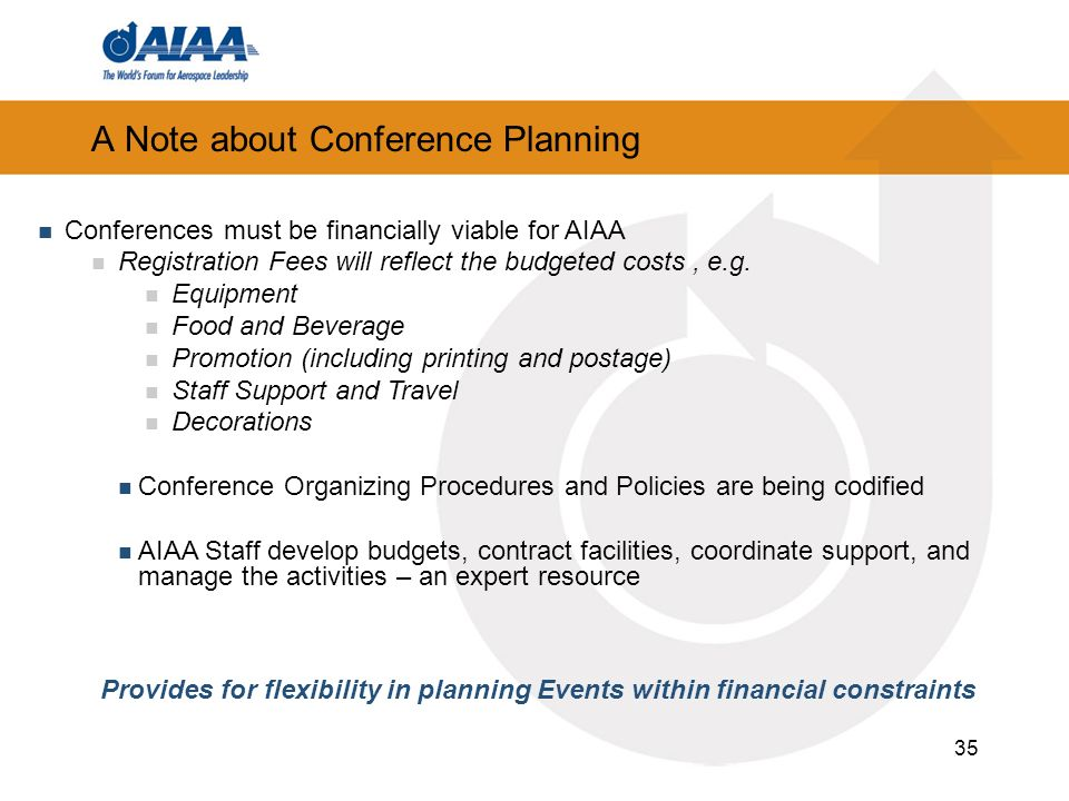 A Note about Conference Planning