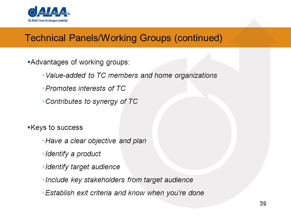 Technical Panels/Working Groups (continued)