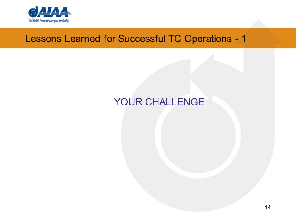 Lessons Learned for Successful TC Operations - 1