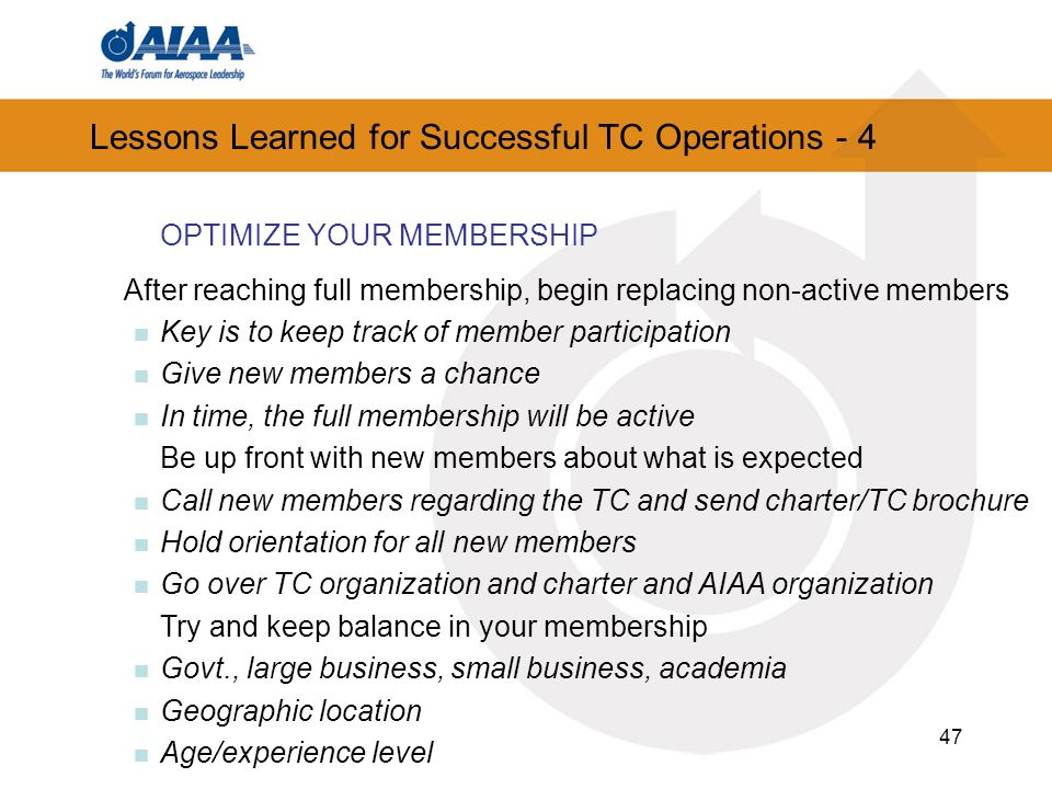 Lessons Learned for Successful TC Operations - 4