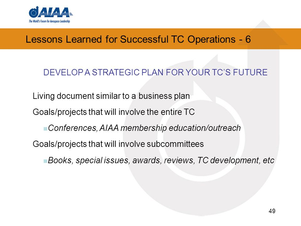 Lessons Learned for Successful TC Operations - 6