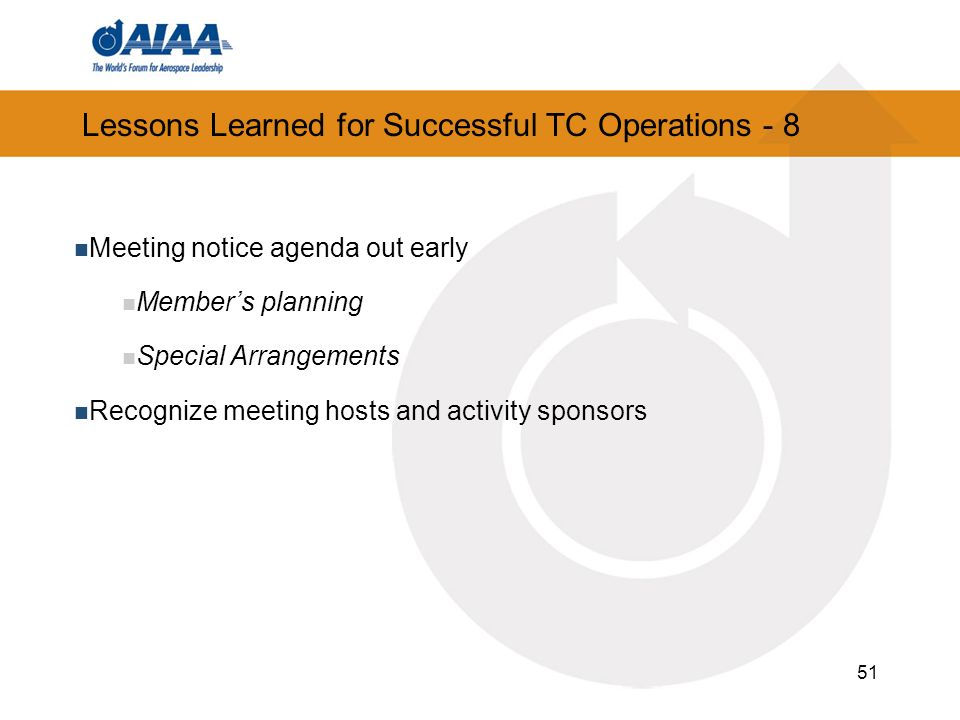Lessons Learned for Successful TC Operations - 8