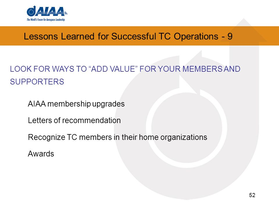Lessons Learned for Successful TC Operations - 9