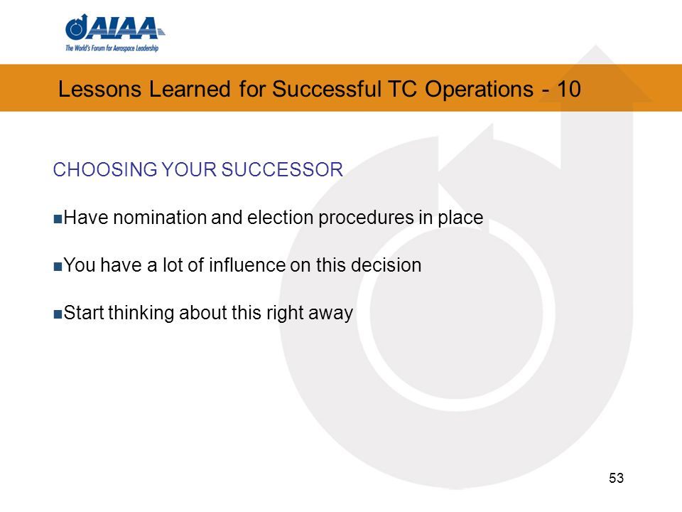 Lessons Learned for Successful TC Operations - 10
