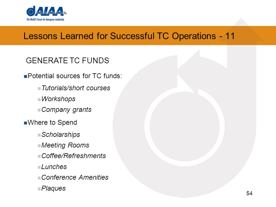 Lessons Learned for Successful TC Operations - 11