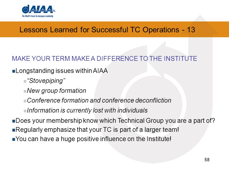 Lessons Learned for Successful TC Operations - 13