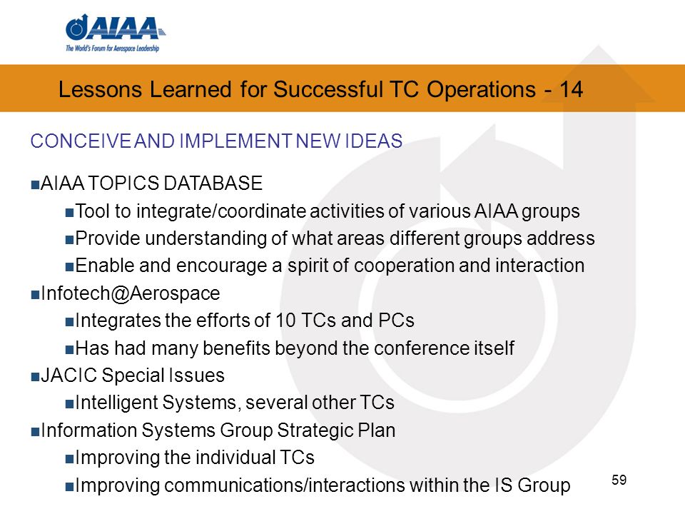 Lessons Learned for Successful TC Operations - 14