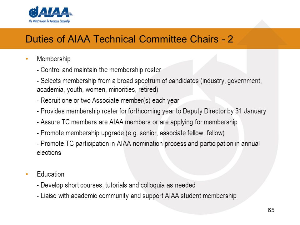 Duties of AIAA Technical Committee Chairs - 2
