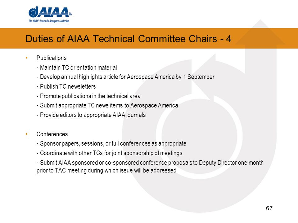Duties of AIAA Technical Committee Chairs - 4