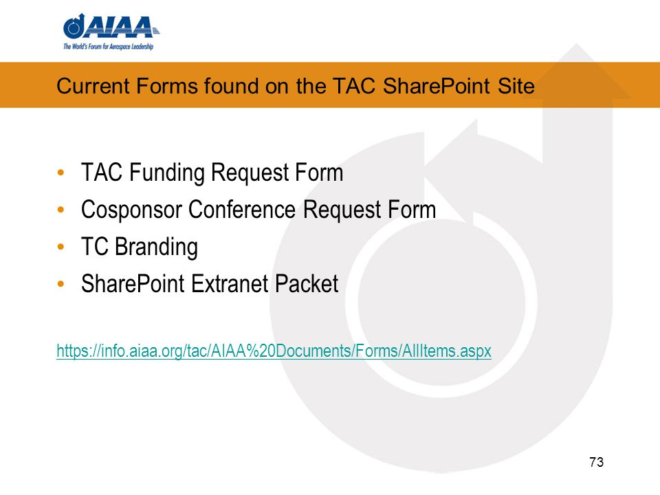 Current Forms found on the TAC SharePoint Site