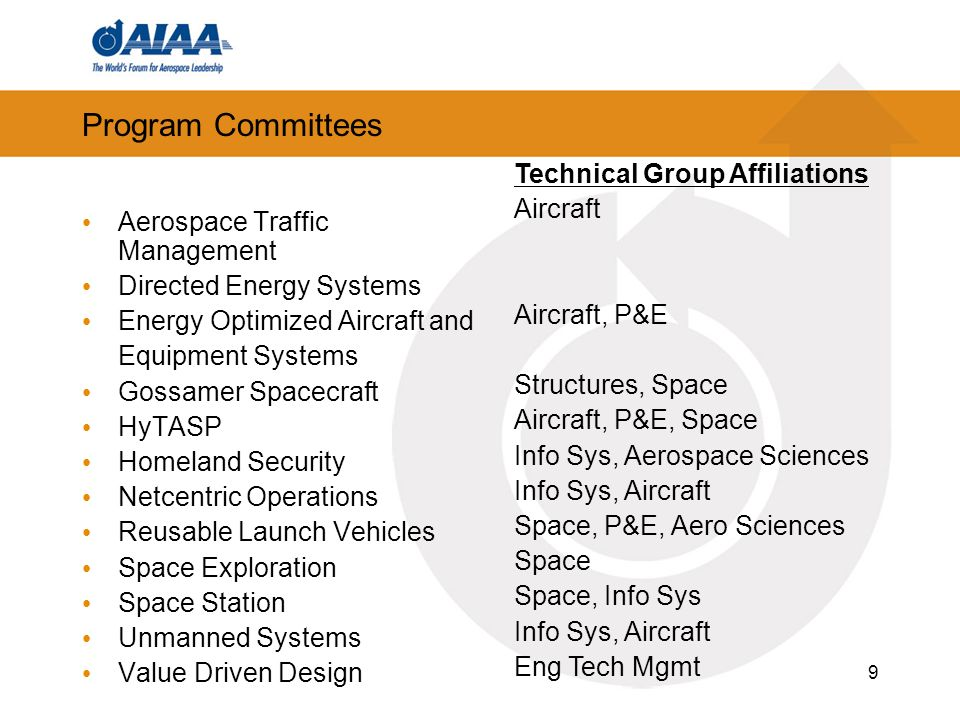 Program Committees Technical Group Affiliations Aircraft